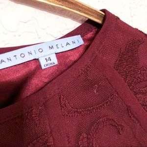 ANTONIO MELANI Dresses - Antonio Melani Burgundy Sheath Dress 14 Lace Wine